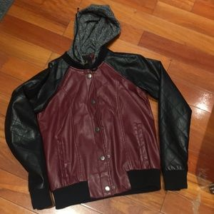 Women's faux leather jacket with hoodie